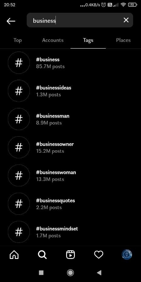 businesses hashtags for Instagram